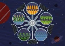 Sistema ecologico chiuso illustrazione vettoriale