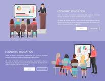 Sistema económico de la educación de carteles del web con el profesor stock de ilustración