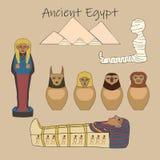 Sistema egipcio antiguo de la historieta de los accesorios del entierro ilustración del vector