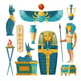 Sistema egipcio de la historieta del vector - sarcófago del faraón, dioses libre illustration