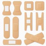Sistema elástico del vector de los yesos del vendaje adhesivo médico Remiendo elástico realista del vendaje, yeso médico aislado  ilustración del vector
