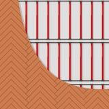 Sistema eléctrico del piso del heatig Cubierta y cable de madera Vector plano imagenes de archivo