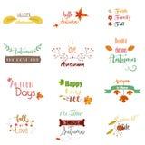 Sistema el texto del otoño y de floral del vintage de logotipos retros coloreados, de iconos, de etiquetas engomadas con libre illustration