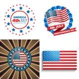 Sistema elegante de fondo americano del Día de la Independencia del 4 de julio ilustración del vector