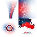 Sistema elegante de fondo del Día de la Independencia del 4 de julio ilustración del vector