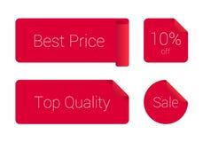 Sistema elegante de la etiqueta engomada roja Foto de archivo