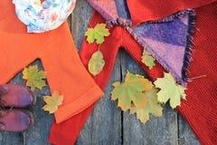 Sistema elegante de la moda de ropa y de accesorios del ` s de la mujer Equipo del otoño del ` s de las mujeres en fondo de mader Foto de archivo