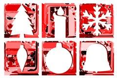 Sistema elegante de la tarjeta de felicitación de la Navidad en rojo Fotografía de archivo libre de regalías