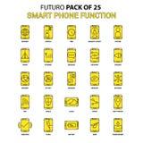 Sistema elegante del icono de las funciones del teléfono Último icono amarillo del diseño de Futuro ilustración del vector