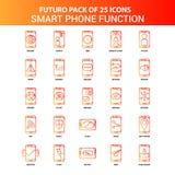 Sistema elegante del icono de las funciones del teléfono de Futuro 25 anaranjados libre illustration