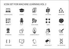 Sistema elegante del icono del aprendizaje de máquina ilustración del vector