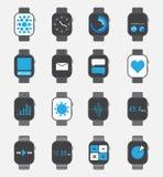 Sistema elegante del icono del reloj Imágenes de archivo libres de regalías