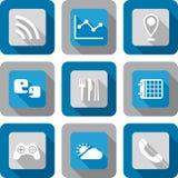Sistema elegante del icono del uso del teléfono Foto de archivo libre de regalías