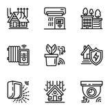 Sistema elegante del icono del dispositivo, estilo del esquema ilustración del vector