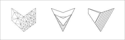Sistema elegante del vector de corazones blancos y negros aislados en el fondo blanco libre illustration