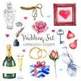 Sistema elegante moderno del estilo de la boda de la acuarela Diversos objetos: ramo con las rosas, peonía, zapatos rosados, tort fotos de archivo libres de regalías
