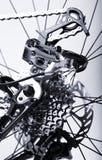 Sistema em mudança da engrenagem traseira das bicicletas fotografia de stock