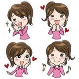 Sistema emocional de la expresión de la muchacha - felicidad ilustración del vector