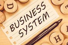 Sistema empresarial do texto da escrita da palavra Conceito do negócio para o método de A de analisar a informação das organizaçõ imagem de stock royalty free