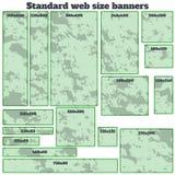 Sistema en blanco de la caja del tamaño estándar de las banderas vacías del web Fotografía de archivo libre de regalías
