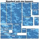 Sistema en blanco de la caja del tamaño estándar de las banderas vacías del web Imagen de archivo libre de regalías