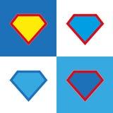Sistema en blanco de la insignia del superhéroe Foto de archivo