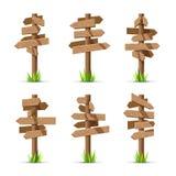 Sistema en blanco del vector de los letreros de madera de la flecha stock de ilustración