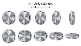 Sistema en blanco del vector vacío de las monedas de plata 3D Plantilla realista Flip Different Angles Inversión, web, interfaz d Imagen de archivo