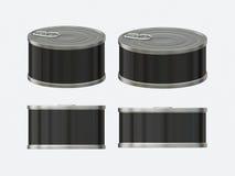 Sistema en blanco negro de la lata de la etiqueta con la etiqueta del tirón, inclu de la trayectoria de recortes Fotografía de archivo