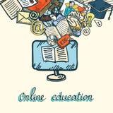 Sistema en línea del icono de la educación Fotografía de archivo libre de regalías