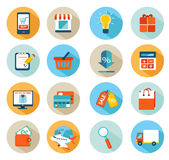 Sistema en línea del icono de las compras Fotografía de archivo libre de regalías