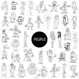 Sistema enorme de los caracteres blancos y negros de la gente stock de ilustración