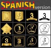 Sistema español de plantillas del número 3 stock de ilustración