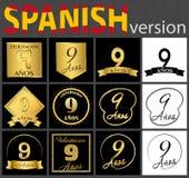 Sistema español de plantillas del número 9 ilustración del vector