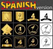 Sistema español de plantillas del número 4 libre illustration