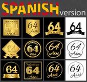 Sistema español de plantillas del número 64 stock de ilustración