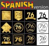 Sistema español de plantillas del número 76 stock de ilustración
