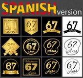 Sistema español de plantillas del número 67 ilustración del vector