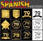Sistema español de plantillas del número 79 ilustración del vector