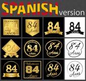 Sistema español de plantillas del número 84 stock de ilustración