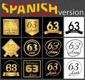 Sistema español de plantillas del número 63 ilustración del vector