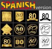 Sistema español de plantillas del número 80 stock de ilustración