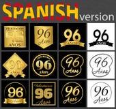 Sistema español de plantillas del número 96 ilustración del vector