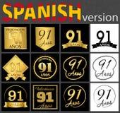 Sistema español de plantillas del número 91 stock de ilustración