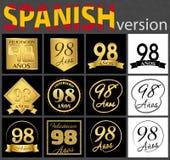 Sistema español de plantillas del número 98 ilustración del vector