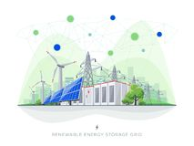 Sistema esperto renovável solar e das energias eólicas da bateria do armazenamento de grade com linhas elétricas ilustração stock