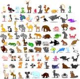 Sistema estupendo de 91 animales lindos de la historieta Fotografía de archivo