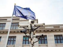 Sistema europeu da bandeira e de segurança Fotografia de Stock Royalty Free
