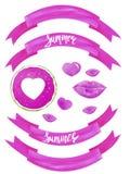 Sistema exhausto de la acuarela de la mano de color rosado libre illustration