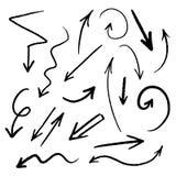Sistema exhausto de la flecha de la mano, colección de símbolos negros del bosquejo del grunge de la dirección, elementos del dis libre illustration